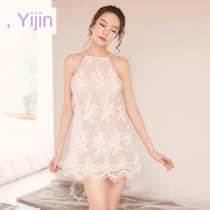 ropa interior atractiva mvruS Yi Yi bordado de tul Ropa interior pijamas transversales transparentes correa sin espalda bordado atractivo de los pijamas de vestir de corto