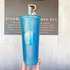 Lo nuevo Starbucks ensueño azul Dazzle diosa láser taza de café paja 710ML Mediados de jade otoño Conejo plástico taza de agua fría taza Acompañando