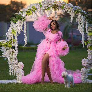 Baby Pink Robe Pregnant Woman Prom Dresses Sleepwear Ruffles Maternity Photoshoot Evening Dress See Thro Formal Party Vestido