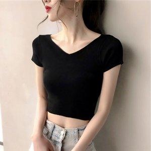 2020 Verão Underpants T- nova V-pescoço de manga curta ins T-shirt das mulheres abrir roupas umbigo moda apertados de mini-shirt das mulheres 0X8oV