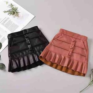 Girls PU leather skirt kids double falbala skirt children buckle elastic high waist princess skirt autumn Winter new kids clothes A4142