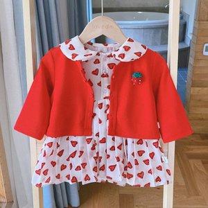 Brasão Halilo Baby Girl de graças roupa vermelha de malha + Meninas Romper Vestido 2pcs 2020 outono roupa dos miúdos Vestuário Infantil Set
