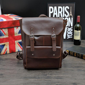 Man Backpack Retro Boy Shoolbag New Fashion High Quality Lesther Gentleman Travel Bag Student Backpack