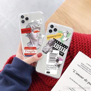 패션 명품 디자이너 예술 문자 레이블 전화 케이스 아이폰 (11) 프로 맥스 7 8 플러스로 돌아 가기 커버를 들어 아이폰 X XR XS 최대 투명 소프트 케이스