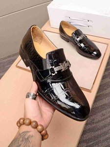 2020 New High quality men's business dress bridegroom's wedding flat leather shoes 121501