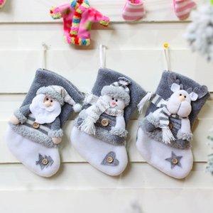 Christmas Socks Home Decoration Christmas Tree Ornaments Gray Santa Claus Elk Snowman Christmas Gift Bag Home Party Decor