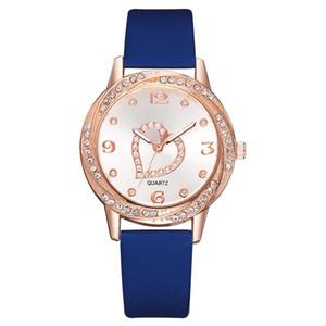 DHL Wholesale Fashion Simple Love Herz Steine Leder Uhren Damen Damen weibliche Kursteilnehmer Kleid Quarz-Diamant-Armbanduhr