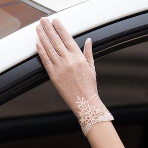 Crème solaire dentelle et de gants en dentelle mince été des femmes conduite antidérapante court Ice Silk Touch Gants étudiants de l'écran
