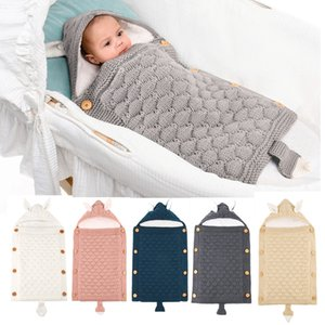 15669 Autumn Winter Infant Newborn Baby Sleeping Bag Cartoon Ear Knitted Sleeping Bags Warm Cart Sleeping Bag Hug Carpet Stroller