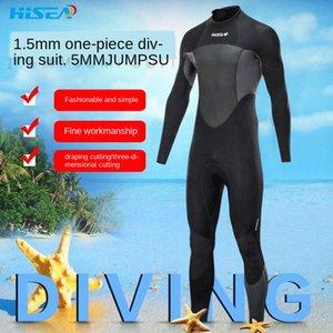 Hisea новый 1.5mm толстый теплый Diving дайвинг мужские теплые с длинным рукавом брюки серфинг костюм медузы пальто CR моржевание подводное плавание костюм