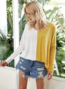 Designer-T-Shirt mit V-Ausschnitt losen Kontrast-Farben gedruckt Langarm-Tops Casual Weiblichen Kleidungs-Herbst-Frauen