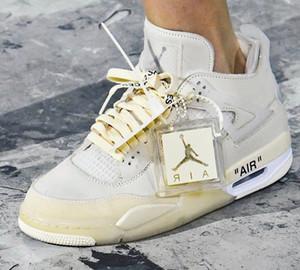 Nike x off white Air Jordan 4 Bred creme branco de vela Sapatilhas Rapazes Meninas Basketball Vintage Shoes Formadores Triple S B23 Moda Outdoor Shoes