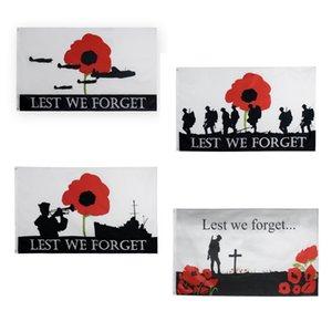 Livraison gratuite En stock 3x5ft 90x150cm Polyester Angleterre géant Nous nous souviendrons Union Jack Soldat Coquelicot Drapeau britannique Armée WW1 Centenaire Drapeau