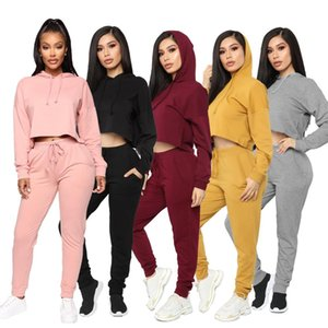 2020 solid color sweater with navel exposed Solid color tight hooded collar two piece fashion leisure sports suit in autumn and winter 5026