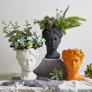 Мода Вазоны Главной Декор Европейского Скульптура Vase Цемент Глава Горшок Сад Украшение греческая богиня Статуя украшение