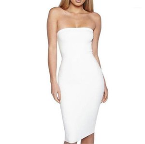 Dress Backpack Buttocks Dresses Strapless Sleeveless Summer Ladies Party Bodycon Dresses Female Clothing Sexy Solid Color