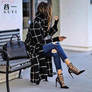 2020 Vintage Black Plaid Hooded Woolen Winter Coats Female Outwear Long Trench Coat Women High Street Belted Windbreak