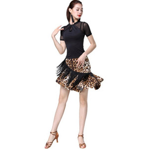 Latin dance costume female adult new practice clothes sexy mesh gown top tassel fishbone skirt suit