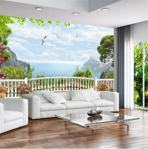 Custom Any Size 3D Wallpaper 3D Stereo European Window Balcony Sea Mural Living Room TV Background Bound Wall Painting Wallpaper