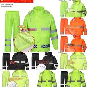 8iwRv Duty takım yüksek hızlı bölünmüş floresan emek koruma güvenli sürme yağmurluk trafik yansıtıcı iş elbiseleri Koruyucu iş elbiseleri r