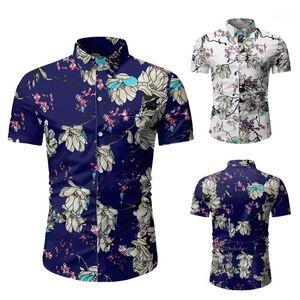 Designer Beach Shirts Fashion Slim Single Breasted Short Sleeve Mens Shirts Casual Males Clothing Floral Print Mens