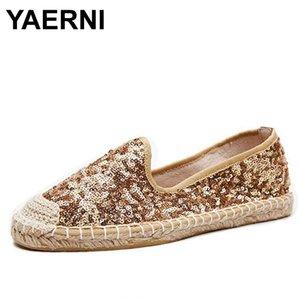 bailarinas YAERNI Glitter mujeres alpargatas zapatos perezosos planos del ballet pescador damas calzado universal chaussure Sapato