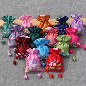 Handmade Ribbon Embroidery Small Fabric Bags for Gifts Packaging Wedding Favor Bags Empty Sachet Satin Jewelry Bag 50pcs lot