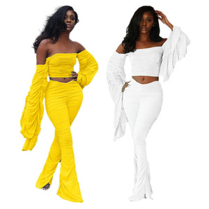 Street Women's Set Two Piece Set Stacked Flare Sleeve Crtop Tops Stracked Flare Jogger Pants Suit Tracksuit Matching Set