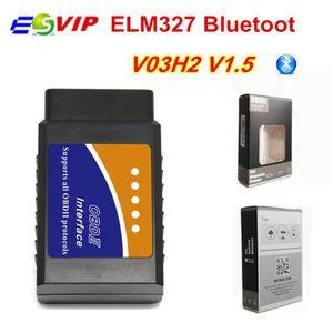 100pcs DHL elm 1.5 V03H2 elm 327 v1.5 Diagnosis Scanner Tool Vehicle OBD2 OBDII Bluetooth Diagnostic Interface auto Fault