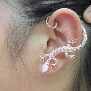 Stud EN 2021 Fashion Exaggerated Gecko Lizard Earrings Elegant Accessories Rhinestone Ear Cuff Luxury