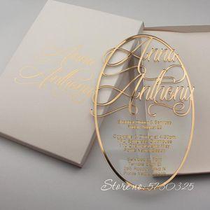 Invitaciones espejo de cristal transparente Invitación de boda Invitación Claro acrílico de encargo de lujo de la boda