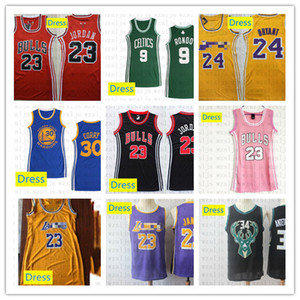 Femmes Robe Cousu pas cher James 23 Curry 30 Rondo 9 Irving 2 Thompson 35 Robe de basket-ball extérieur Respirant Jersey Sport