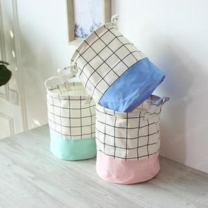 Cesti nuovo storage fresco Plaid Storage Box Cotone Lino Supporto da tavolo Toy bagagli impermeabile lavanderia BasketHandle