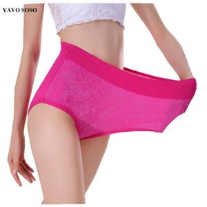 Ropa interior atractiva de encaje de flores Yavo SOSO mujeres underwears de alta cintura más tamaño 6XL 10 colores bragas escritos de las mujeres
