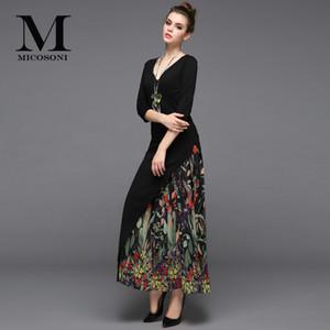 Günlük Elbiseler Micosoni High-end Kalite 2021 Bahar Retro Tarzı kadın V Yaka Pamuk Panel Şifon Pileli Baskılı Elbise Artı Boyutu S-XXL