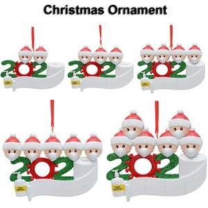 2020 Christmas Ornament Xmas Decoration Snowman Pendants With Face Mask DIY Christmas Tree Family Party Gift Fast Shipping
