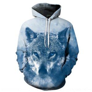 Oef2w / animal lobo 3D con capucha y de las mujeres nv nv wai wai capa de la capa del lobo de Tao Tao suéter mujeres impresa