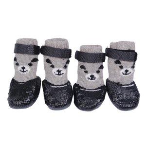 Multi-color 4 pçs / lote algodão borracha de borracha cão sapatos à prova d 'água não-deslizamento cão chuva neve botas sapatos de meias para cachorrinho gatos pequenos cães