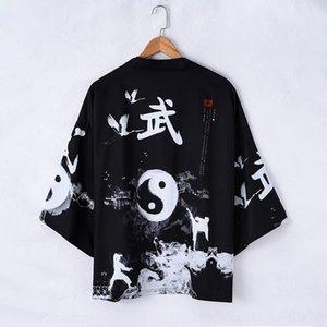 gH0Z7 chisme y la nueva manga recortada bata de primavera y verano sleeveshirt Tang traje traje Tang kimono kimono otoño recortar la camisa floja