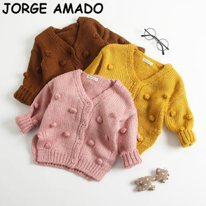Toddler Girl Sweater Girls Cardigan Knitting Wool Fashion Pompom Ball Sweaters Kids Coat Baby Girl Winter Clothes E83017