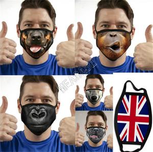 La exageración 3D divertido de la cara animal de la manera Máscara de expresión Impresión máscaras a prueba de polvo de algodón tela reutilizables y lavables del oído Loop Máscara D81405