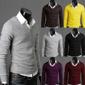 Autumn Fall England Style Bottoming Sweaters Mens V-neck Knitted Sweatshirts Spring