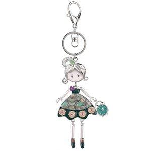 Designer Key Ring Handmade Doll Keychains for Car Key Fashion New Design Enamel Cute Girl Bag Pendant Keys Chains Ring Alloy Metal Keyring