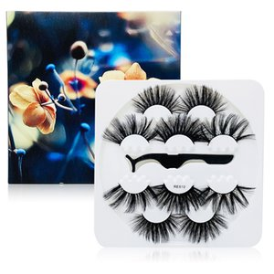 Newest thick long 25mm false eyelashes 5 pairs set with tweezer reusable handmade fake lashes eye makeup accessory 8 models drop shipping