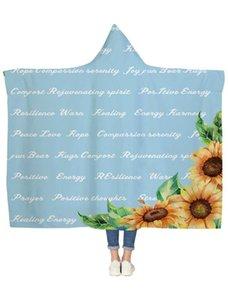 La guérison de tournesol Texte chaud bleu à capuchon Couverture Couvertures Couvre-lit Blanket Flanelle Voyage All-Season