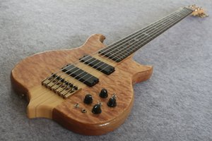 Custom made 6 string Neck Thru Body Bass and rosewood Fingerboard 24 Frets,Gold Hardware and Active Pickups China Electric Guitar Bass