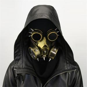 Steampunk Metallic Luster Gasmaske mit Goggles Retro Cosplay gruselige Todesmaske Helm für Halloween-Kostüm JK2009ph