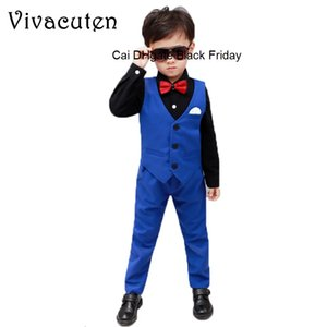 New Boys Formal Tuxedo Weeding Suits Kids Vest Pants 2pcs Prince Performance Costume Children Clothing Birthday Party Dress Suit