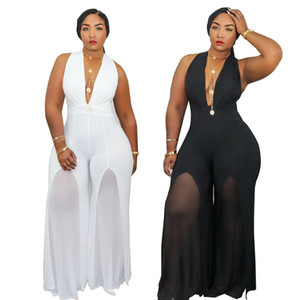 Women Plus Size XL-5XL Jumpsuits New Arrivals Deep V-neck Sleeveless Streetwear Sexy Club One Piece Overall Rompers Real Image