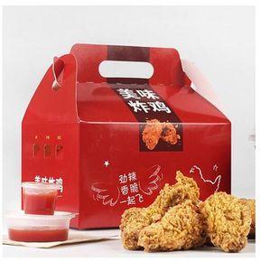 OEM DIY بالجملة الغذاء الصف ورقة التغليف المجمدة أجنحة الدجاج صناديق مخصص مطبوعة التعامل مع الجملون KFC الوجبات الجاهزة فرايد صندوق الدجاج